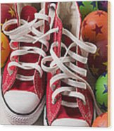 Red Tennis Shoes And Balls Wood Print