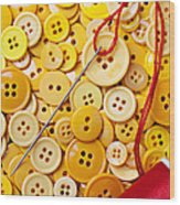 Red Thread And Yellow Buttons Wood Print