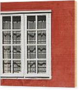 Red Timber House And Window Frame In Wood Print