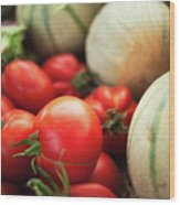 Red Tomatoes And Cantaloupe Melons Wood Print