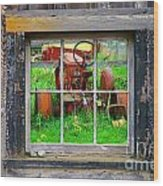 Red Tractor Thru Old Window Wood Print