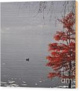 Red Tree On The Lake Front Wood Print