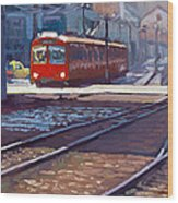 Red Trolley Wood Print