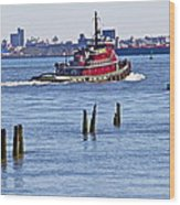 Red Tug One Wood Print