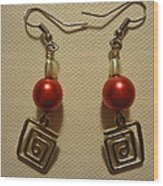 Red Twisted Square Earrings Wood Print by Jenna Green