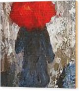 Red Umbrella Under The Rain Wood Print