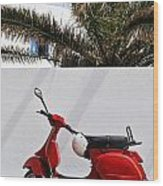 Red Vespa By Wall Wood Print