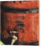 Red Weathered Wooden Bucket Wood Print