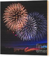 Red White And Blue Wood Print by Robert Bales