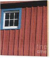 Red White And Blue Window Wood Print