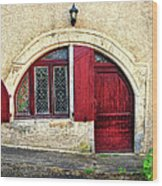 Red Windows And Door Provence France Wood Print