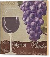 Red Wine Collage Wood Print