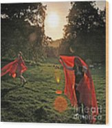 Red Witches Dance Wood Print