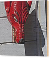 Red Wolf Mask Wood Print