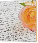 Red Yellow Rose Over A Hand Written Love Letter Wood Print
