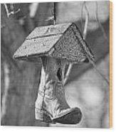 Redneck Cowboy Boot Birdhouse Bw Wood Print