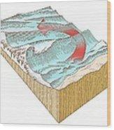 Reef Break Wave Formation, Artwork Wood Print