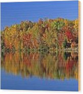 Reflected Autumn Trees In Simon Lake Wood Print