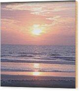 Reflected Beach Sunrise Wood Print