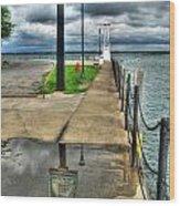 Reflecting At The Erie Basin Marina Wood Print