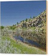 Reflecting Cliffs Wood Print