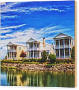 Reflecting On New Town 3 Wood Print by Bill Tiepelman