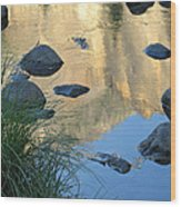 Reflecting Peaks In The Merced River Wood Print