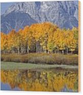 Reflection At Oxbow Bend Wood Print