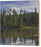 Reflection Lake And Mount Rainier Wood Print