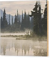 Reflection Lake With Mist, Mount Wood Print