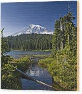 Reflection Lake With Mount Rainier Wood Print