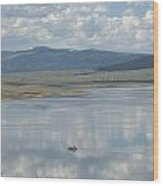 Reflection Of Clouds On Eagle Nest Lake Wood Print
