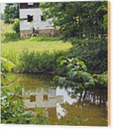 Reflection Of The Barn Wood Print