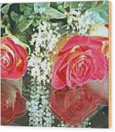 Reflection Red Roses Wood Print