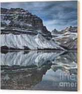Reflections At Bow Lake Wood Print