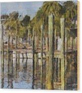 Reflections At Fort Pierce Wood Print