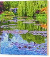 Reflections At Giverny Wood Print