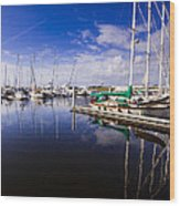 Reflections Brunswick Marina Wood Print