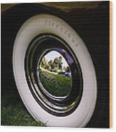 Reflections In A Hubcap Wood Print