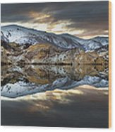 Reflections Of Cliffs On Blue Lake St Bathans Wood Print