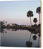 Reflections Of Keaton Beach Marina Wood Print