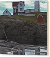 Reflections Of Nubble Lighthouse Wood Print by Scott Moore