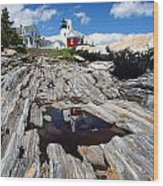 Reflections Of Pemaquid Wood Print by Brenda Giasson