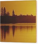 Reflections On Jessica Lake At Sunrise Wood Print
