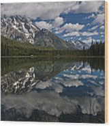 Reflections On Mount Moran Wood Print