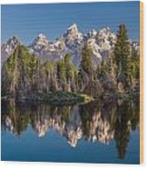 Reflections On Schwabacher Landing Wood Print