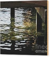Reflections Under Pier Wood Print