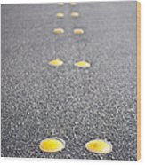 Reflective Roadway Divider Bumps Wood Print by Thom Gourley/Flatbread Images, LLC