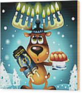 Reindeer With Menorah For Antlers Wood Print