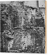 Remains Of An Old Historic House With Multiple Fireplaces In The Wall Of The Old Town Aberdeen Scotl Wood Print by Joe Fox